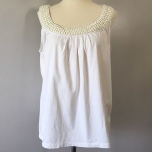Talbots Large Ivory Beaded Tank